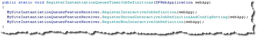 Method to Register Timer Jobs